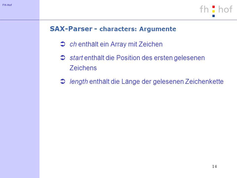 FH-Hof 14 SAX-Parser - characters: Argumente ch enthält ein Array mit Zeichen start enthält die Position des ersten gelesenen Zeichens length enthält die Länge der gelesenen Zeichenkette