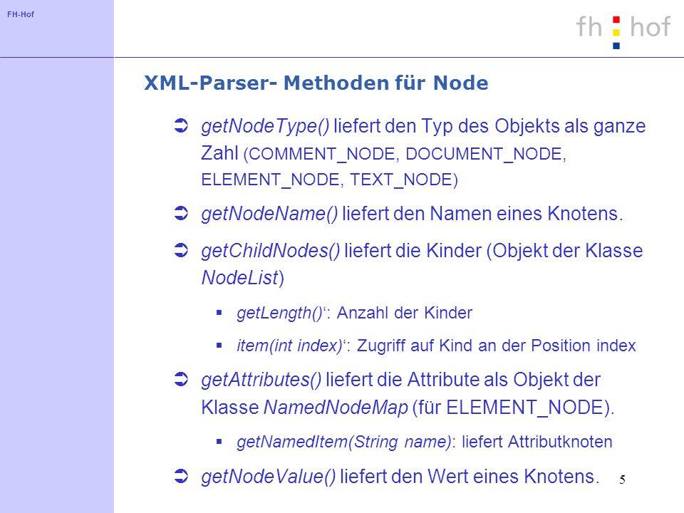 FH-Hof 5 XML-Parser- Methoden für Node getNodeType() liefert den Typ des Objekts als ganze Zahl (COMMENT_NODE, DOCUMENT_NODE, ELEMENT_NODE, TEXT_NODE) getNodeName() liefert den Namen eines Knotens.