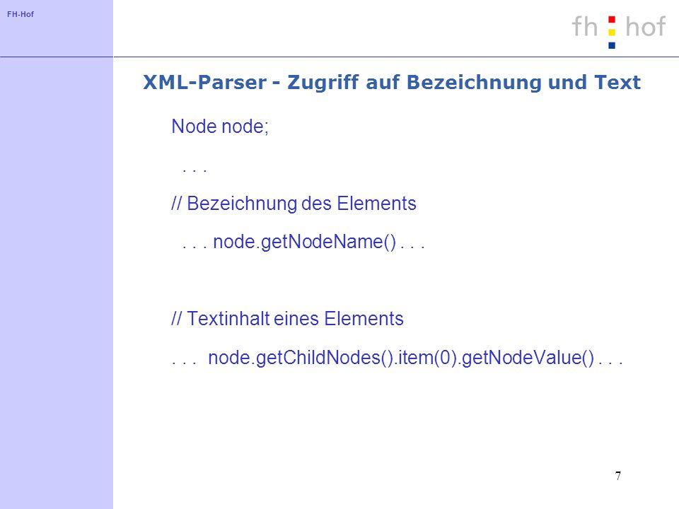 FH-Hof 7 XML-Parser - Zugriff auf Bezeichnung und Text Node node;...