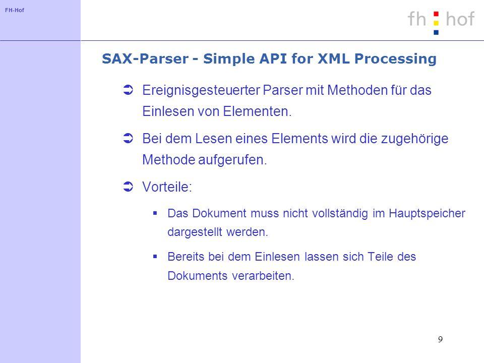 FH-Hof 9 SAX-Parser - Simple API for XML Processing Ereignisgesteuerter Parser mit Methoden für das Einlesen von Elementen.