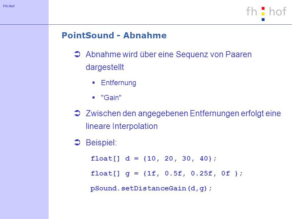 FH-Hof PointSound - Abnahme Abnahme wird über eine Sequenz von Paaren dargestellt Entfernung Gain Zwischen den angegebenen Entfernungen erfolgt eine lineare Interpolation Beispiel: float[] d = {10, 20, 30, 40}; float[] g = {1f, 0.5f, 0.25f, 0f }; pSound.setDistanceGain(d,g);
