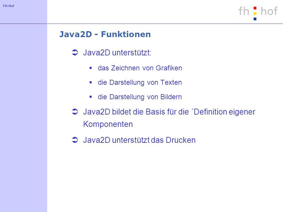FH-Hof Java2D - Funktionen Java2D unterstützt: das Zeichnen von Grafiken die Darstellung von Texten die Darstellung von Bildern Java2D bildet die Basis für die ´Definition eigener Komponenten Java2D unterstützt das Drucken