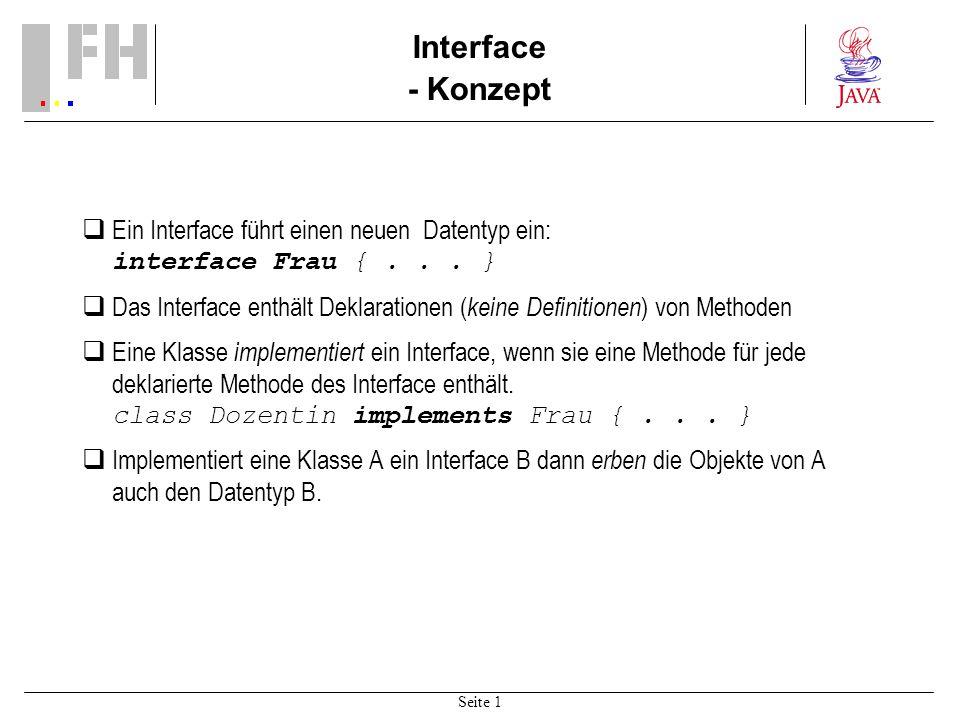 Seite 1 Interface - Konzept Ein Interface führt einen neuen Datentyp ein: interface Frau {...