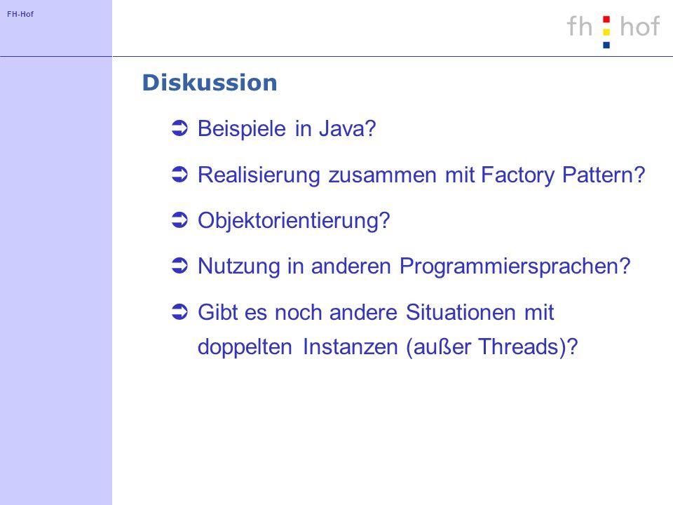 FH-Hof Diskussion Beispiele in Java? Realisierung zusammen mit Factory Pattern? Objektorientierung? Nutzung in anderen Programmiersprachen? Gibt es no