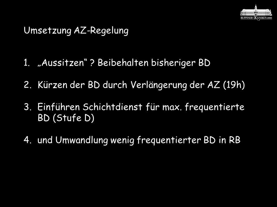 Umsetzung AZ-Regelung 1.Aussitzen ? Beibehalten bisheriger BD 2.Kürzen der BD durch Verlängerung der AZ (19h) 3.Einführen Schichtdienst für max. frequ