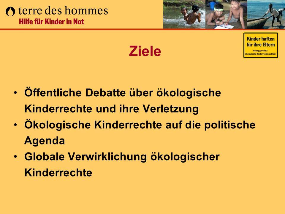 Ziele Öffentliche Debatte über ökologische Kinderrechte und ihre Verletzung Ökologische Kinderrechte auf die politische Agenda Globale Verwirklichung