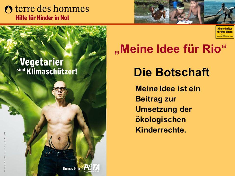 Meine Idee für Rio Meine Idee ist ein Beitrag zur Umsetzung der ökologischen Kinderrechte. Die Botschaft