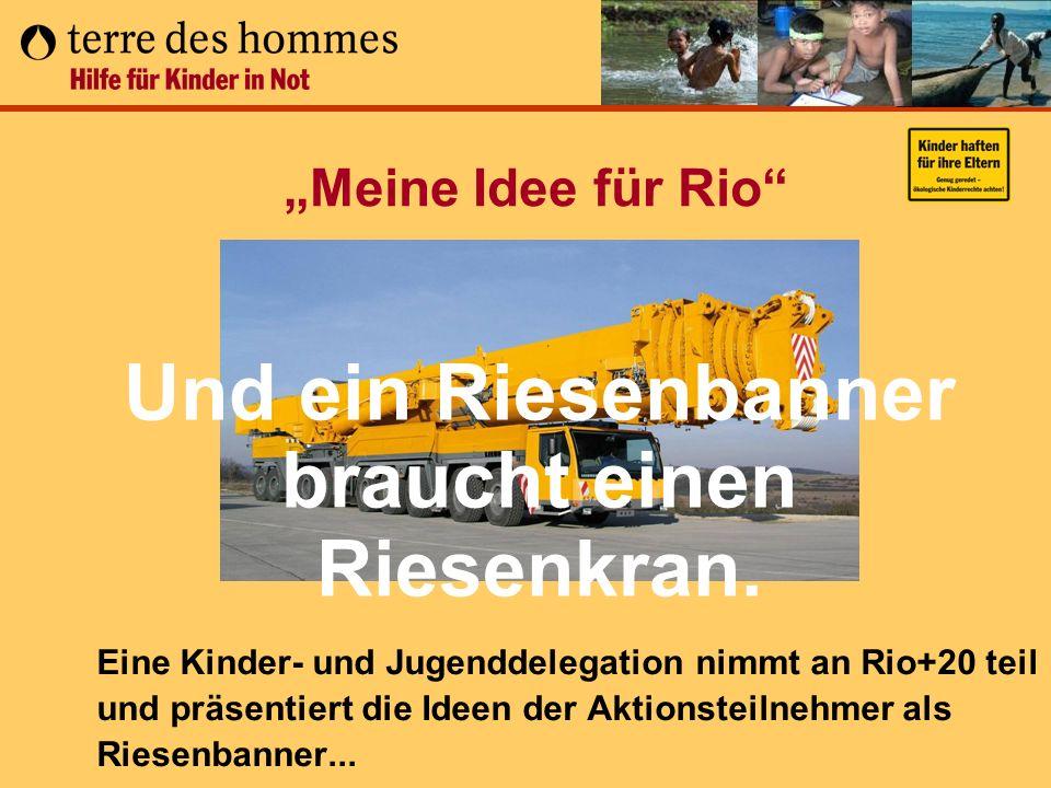 Meine Idee für Rio Eine Kinder- und Jugenddelegation nimmt an Rio+20 teil und präsentiert die Ideen der Aktionsteilnehmer als Riesenbanner... Und ein