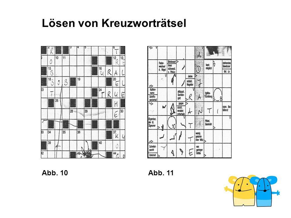 Abb. 10Abb. 11 Lösen von Kreuzworträtsel