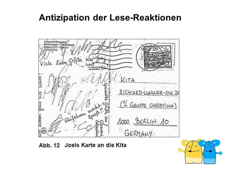 Abb. 12 Antizipation der Lese-Reaktionen Joels Karte an die Kita