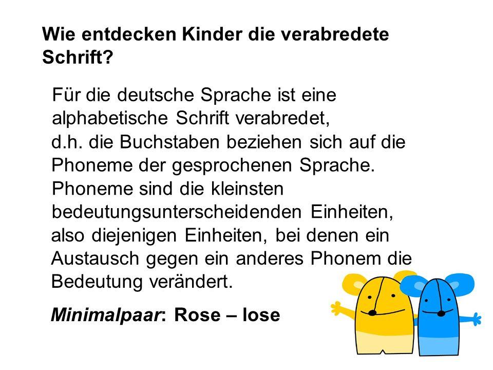 Wie entdecken Kinder die verabredete Schrift? Für die deutsche Sprache ist eine alphabetische Schrift verabredet, d.h. die Buchstaben beziehen sich au