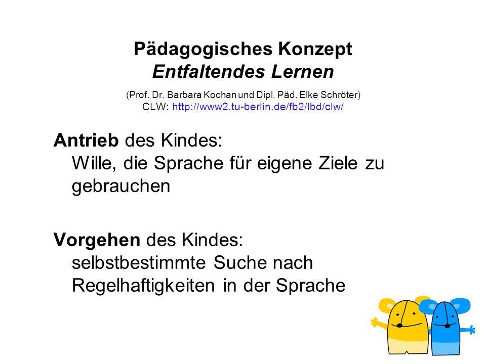 Pädagogisches Konzept Entfaltendes Lernen (Prof. Dr. Barbara Kochan und Dipl. Päd. Elke Schröter) CLW: http://www2.tu-berlin.de/fb2/lbd/clw/ Antrieb d