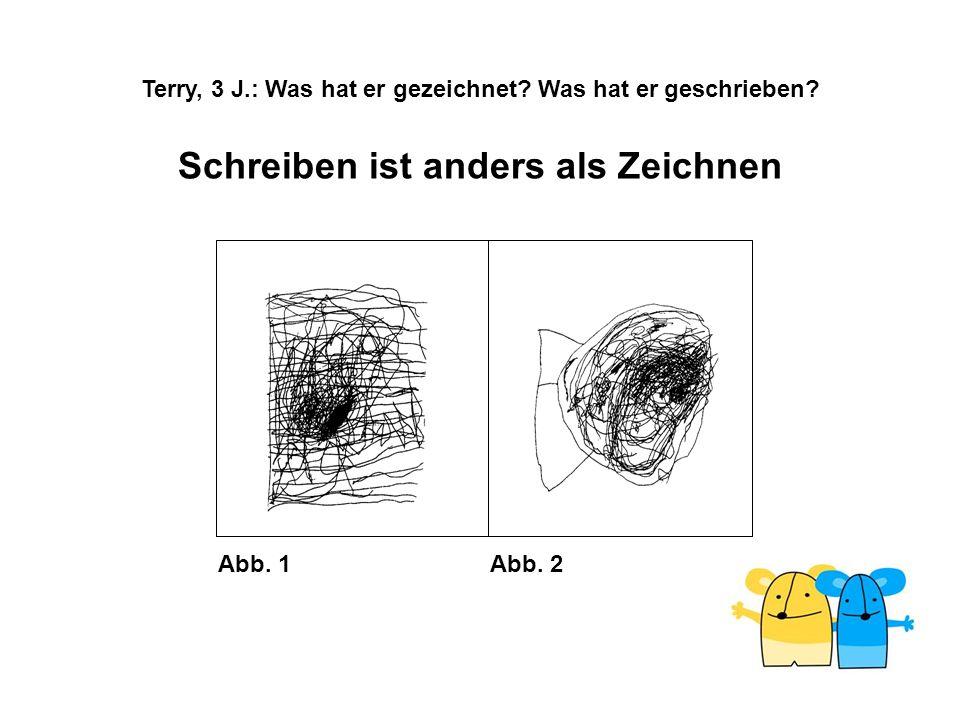 Abb. 1Abb. 2 Schreiben ist anders als Zeichnen Terry, 3 J.: Was hat er gezeichnet? Was hat er geschrieben?