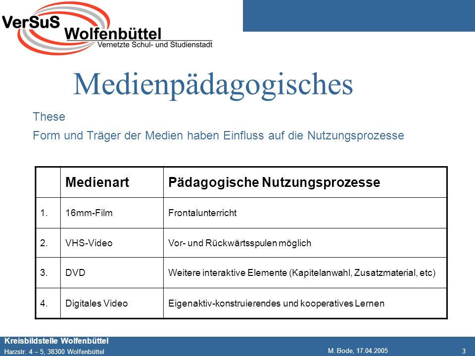 3 Kreisbildstelle Wolfenbüttel Harzstr. 4 – 5, 38300 Wolfenbüttel M. Bode, 17.04.2005 Medienpädagogisches These Form und Träger der Medien haben Einfl