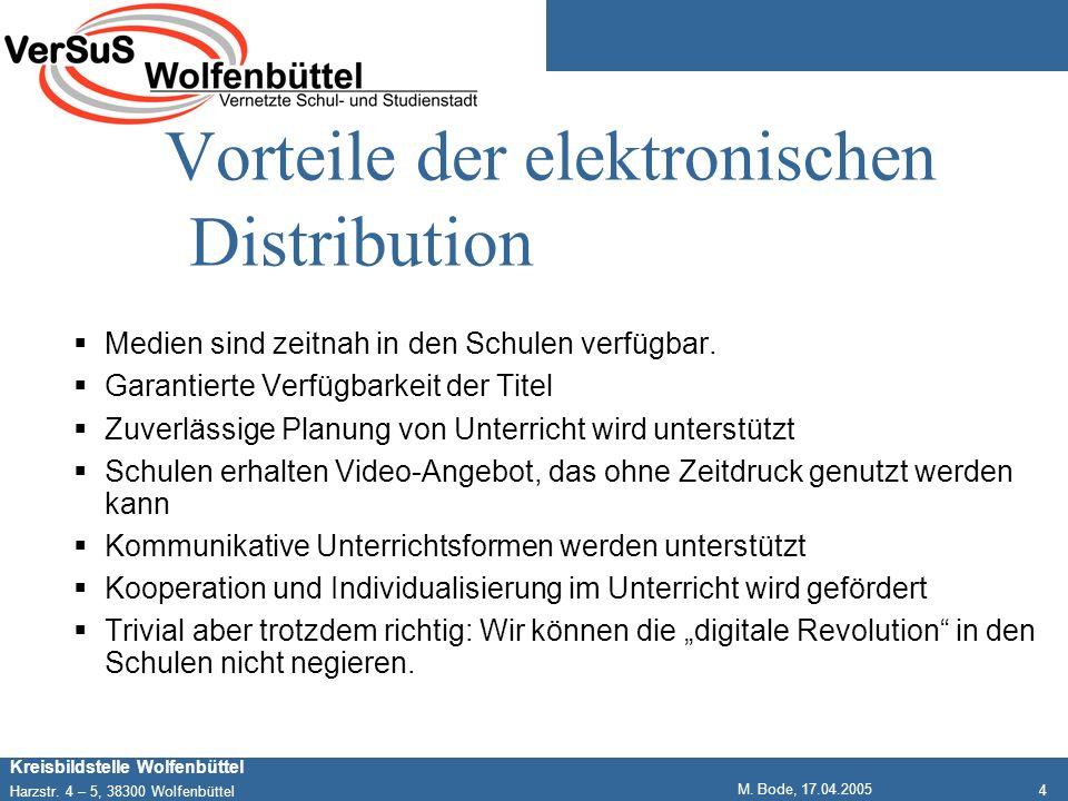 4 Kreisbildstelle Wolfenbüttel Harzstr. 4 – 5, 38300 Wolfenbüttel M. Bode, 17.04.2005 Vorteile der elektronischen Distribution Medien sind zeitnah in