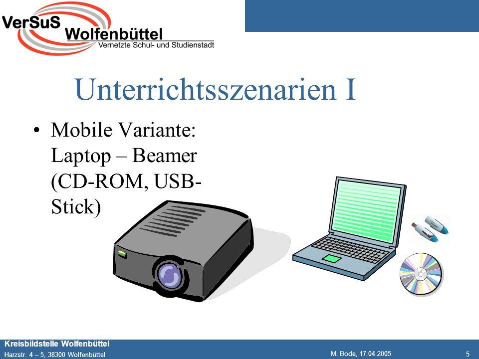 5 Kreisbildstelle Wolfenbüttel Harzstr. 4 – 5, 38300 Wolfenbüttel M. Bode, 17.04.2005 Unterrichtsszenarien I Mobile Variante: Laptop – Beamer (CD-ROM,