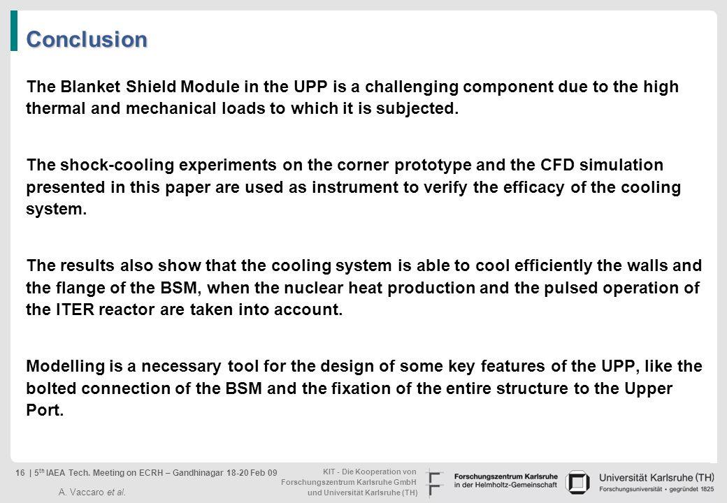 KIT - Die Kooperation von Forschungszentrum Karlsruhe GmbH und Universität Karlsruhe (TH) Conclusion The Blanket Shield Module in the UPP is a challen