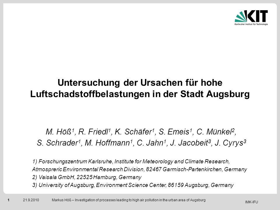 IMK-IFU 121.9.2010 Markus Höß – Investigation of processes leading to high air pollution in the urban area of Augsburg Untersuchung der Ursachen für h