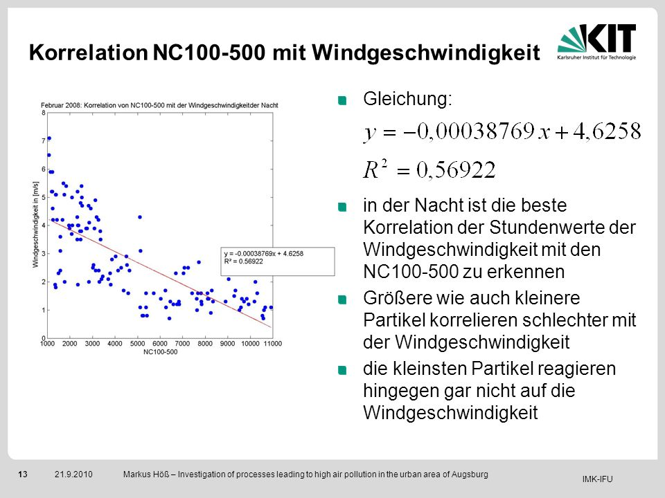 IMK-IFU 1321.9.2010 Markus Höß – Investigation of processes leading to high air pollution in the urban area of Augsburg Gleichung: in der Nacht ist di