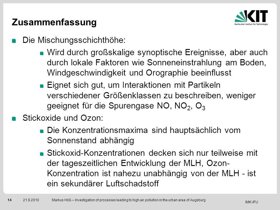 IMK-IFU 1421.9.2010 Markus Höß – Investigation of processes leading to high air pollution in the urban area of Augsburg Zusammenfassung Die Mischungss