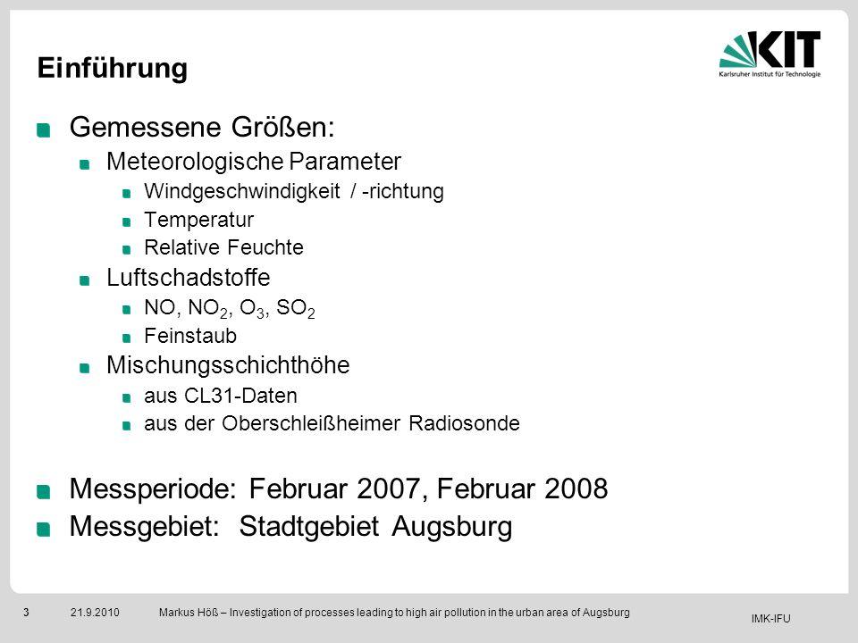 IMK-IFU 321.9.2010 Markus Höß – Investigation of processes leading to high air pollution in the urban area of Augsburg Einführung Gemessene Größen: Me