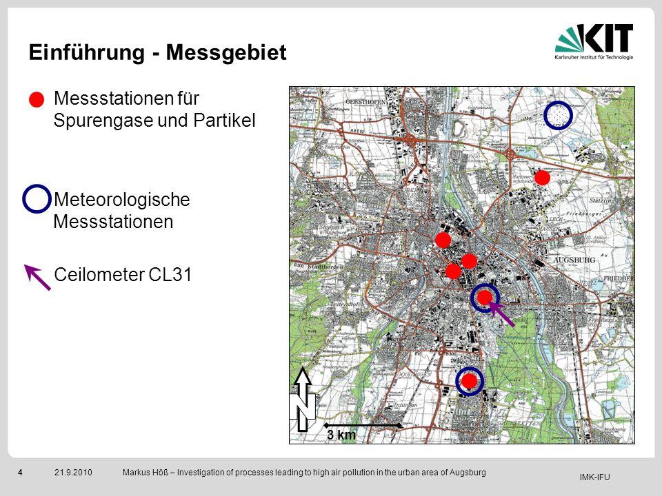 IMK-IFU 421.9.2010 Markus Höß – Investigation of processes leading to high air pollution in the urban area of Augsburg Einführung - Messgebiet Messsta