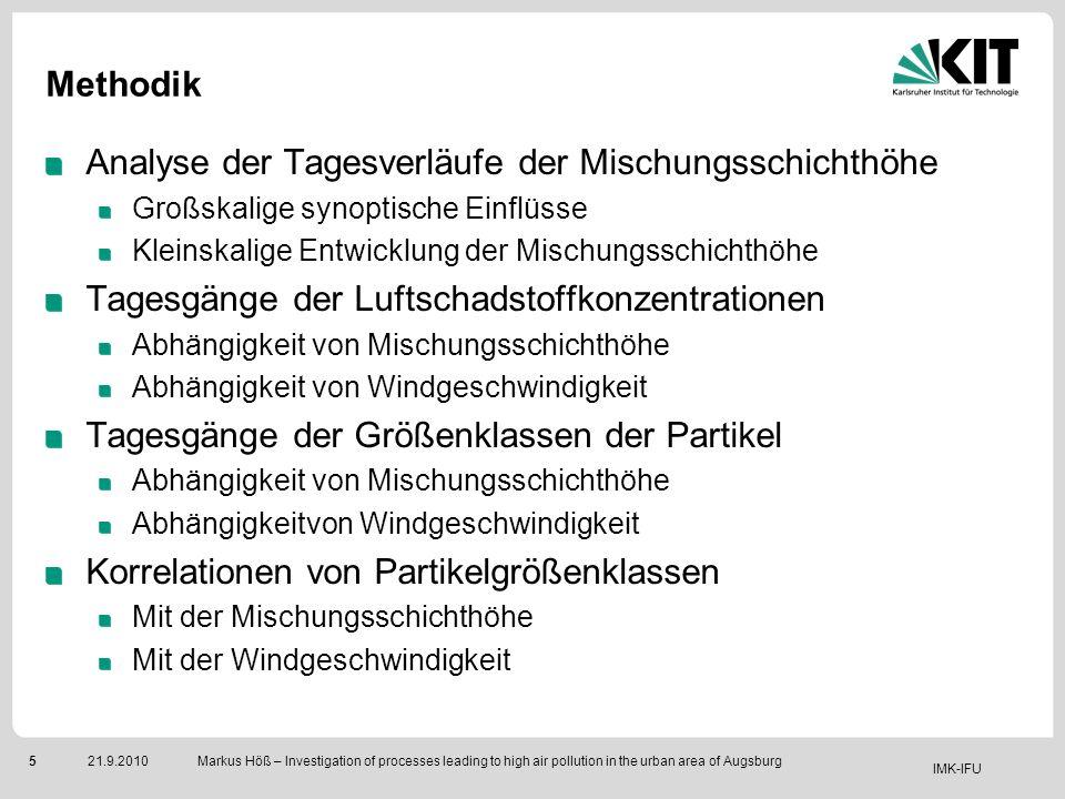 IMK-IFU 521.9.2010 Markus Höß – Investigation of processes leading to high air pollution in the urban area of Augsburg Methodik Analyse der Tagesverlä