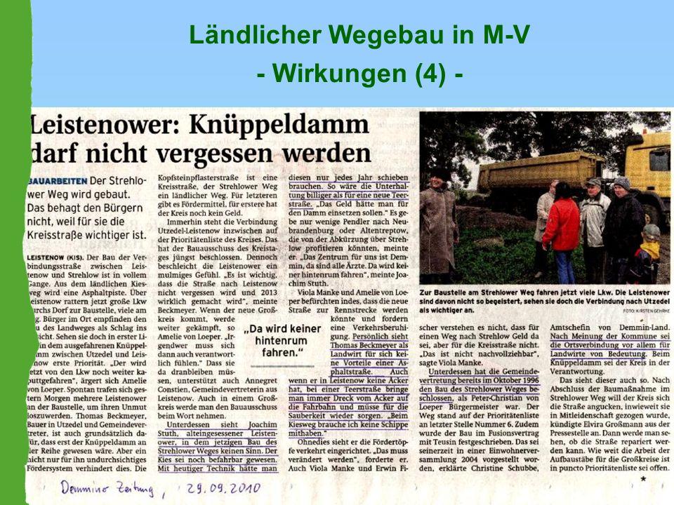 Ländlicher Wegebau in M-V - Wirkungen (4) -