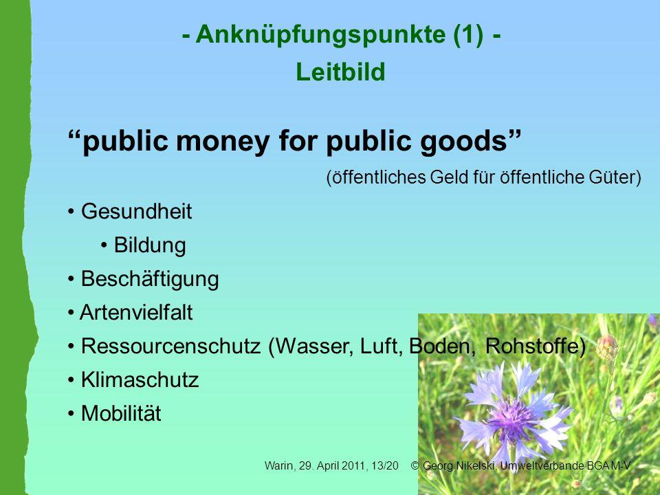 public money for public goods (öffentliches Geld für öffentliche Güter) Gesundheit Bildung Beschäftigung Artenvielfalt Ressourcenschutz (Wasser, Luft,