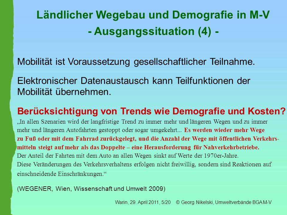 Ländlicher Wegebau und Gemeindefinanzen in M-V - Ausgangssituation (5) - 31.12.2009: Ø 1238 pro Einwohner/in gemeindliche Schuldenlasten z.