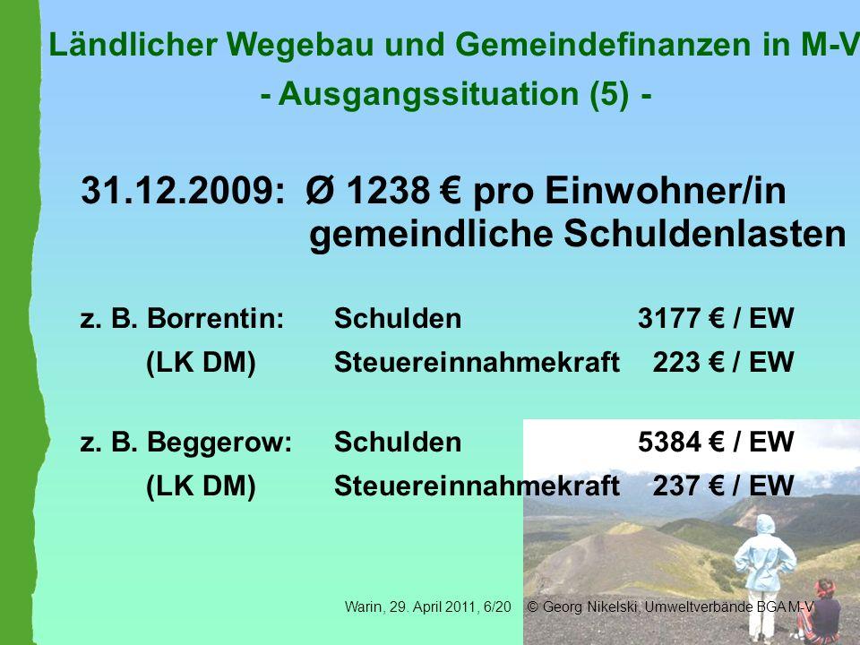 Ländlicher Wegebau und Gemeindefinanzen in M-V - Ausgangssituation (5) - 31.12.2009: Ø 1238 pro Einwohner/in gemeindliche Schuldenlasten z. B. Borrent