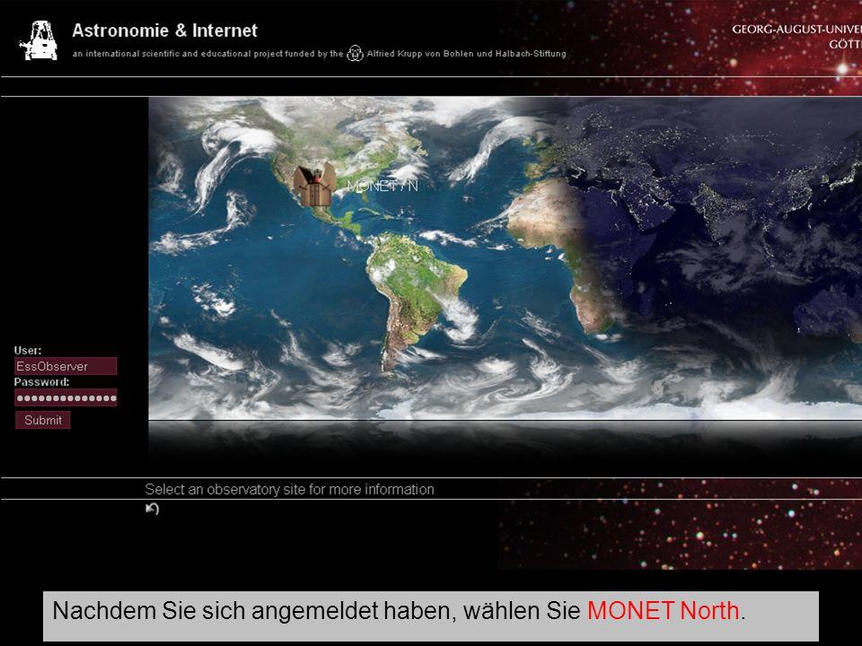 MONET-Portal Nachdem Sie sich angemeldet haben, wählen Sie MONET North.