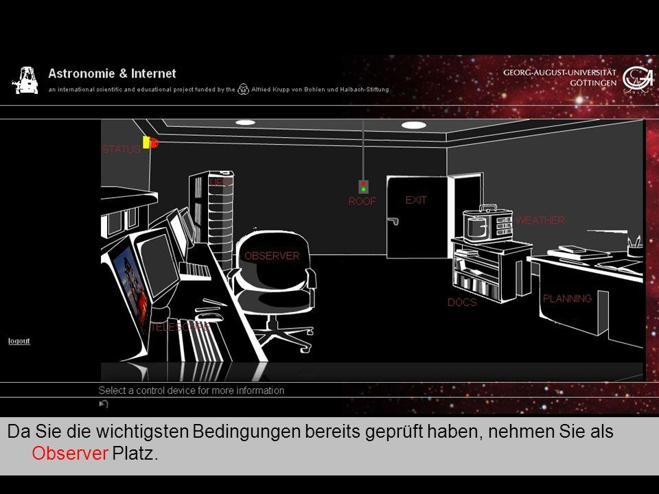 Teleskop 14 … und PARKEN das Teleskop.