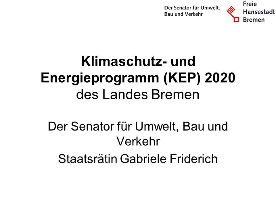 Klimaschutz- und Energieprogramm (KEP) 2020 des Landes Bremen Der Senator für Umwelt, Bau und Verkehr Staatsrätin Gabriele Friderich