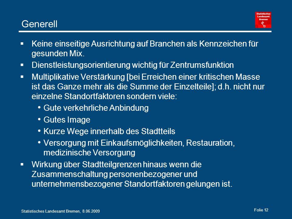 Statistisches Landesamt Bremen, 8.06.2009 Folie 12 Generell Keine einseitige Ausrichtung auf Branchen als Kennzeichen für gesunden Mix.