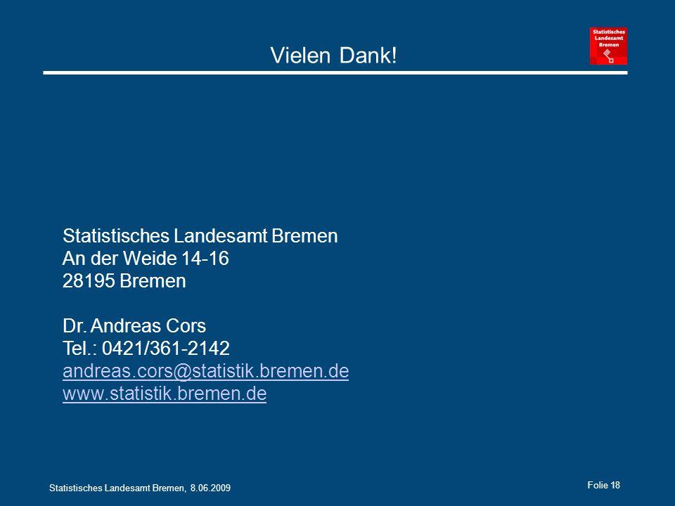 Statistisches Landesamt Bremen, 8.06.2009 Folie 18 Vielen Dank.