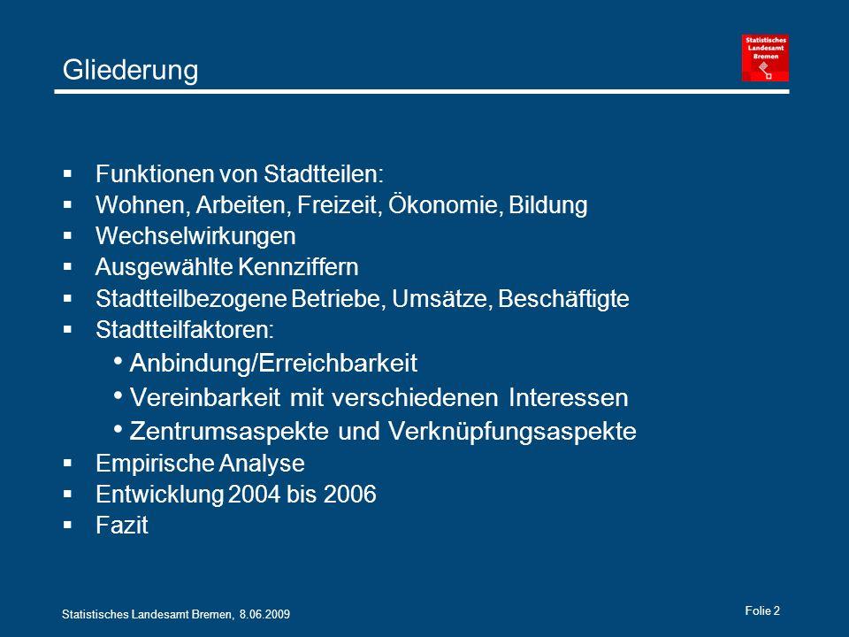 Statistisches Landesamt Bremen, 8.06.2009 Folie 13 Zusammen Umsatz und Beschäftigung 1000 EuroPersonen
