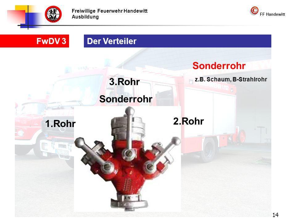 Freiwillige Feuerwehr Handewitt Ausbildung FF Handewitt FwDV 3 14 Der Verteiler 1.Rohr 2.Rohr 3.Rohr Sonderrohr z.B.
