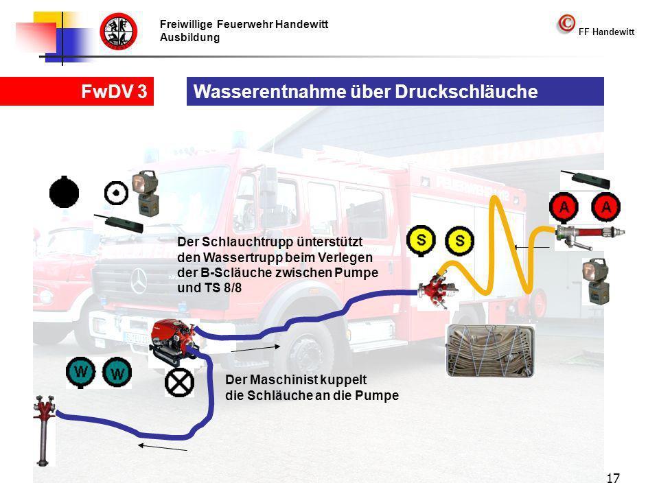 Freiwillige Feuerwehr Handewitt Ausbildung FF Handewitt FwDV 3 17 Wasserentnahme über Druckschläuche Der Maschinist kuppelt die Schläuche an die Pumpe Der Schlauchtrupp ünterstützt den Wassertrupp beim Verlegen der B-Scläuche zwischen Pumpe und TS 8/8