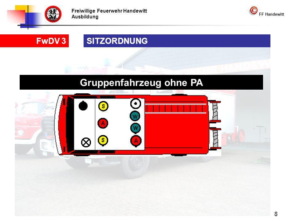 Freiwillige Feuerwehr Handewitt Ausbildung FF Handewitt FwDV 3 8 SITZORDNUNG Gruppenfahrzeug ohne PA