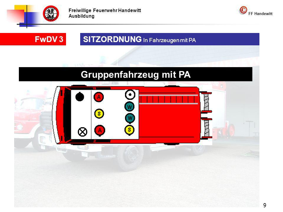 Freiwillige Feuerwehr Handewitt Ausbildung FF Handewitt FwDV 3 9 SITZORDNUNG In Fahrzeugen mit PA Gruppenfahrzeug mit PA