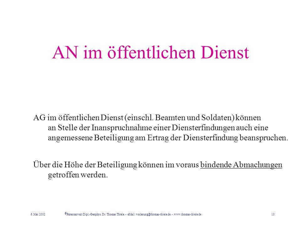 Schiedsverfahren Für alle Streitfälle zwischen AG und AN ist beim Deutschen Patent- und Markenamt eine Schiedsstelle eingerichtet. Diese soll versuche