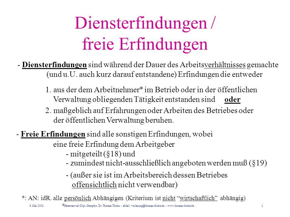 Schiedsverfahren Für alle Streitfälle zwischen AG und AN ist beim Deutschen Patent- und Markenamt eine Schiedsstelle eingerichtet.