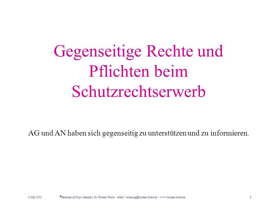 Schutzrechtsanm. im Inland Der AG hat eine unbeschränkt in Anspruch genommene patentfähige Erfindung im Inland unverzüglich zum Patent anzumelden, sof