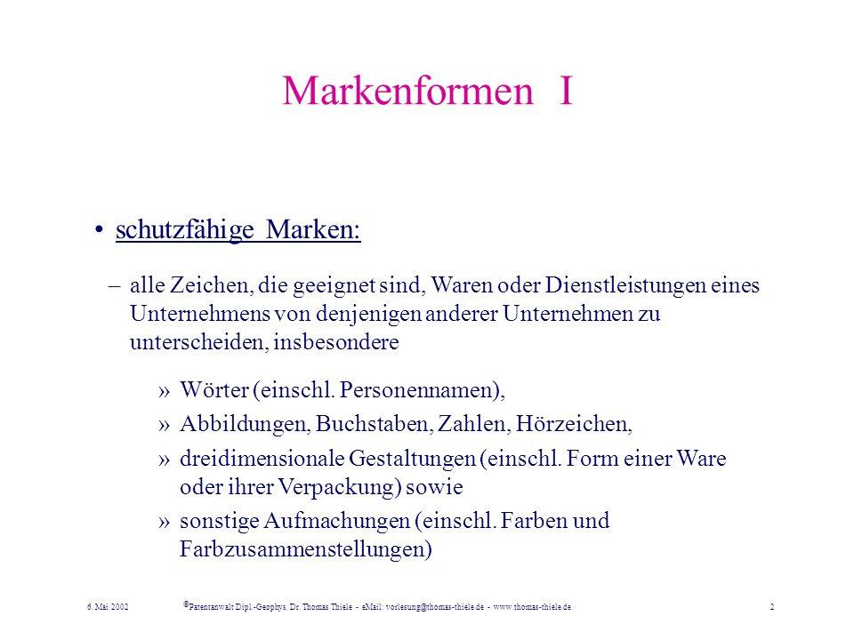 Marken- und Firmenrecht seit dem 1.1.1995 sind im deutschen Markengesetz (MarkenG) gemeinsam geregelt der Schutz von insbesondere: –geschäftlichen Bez