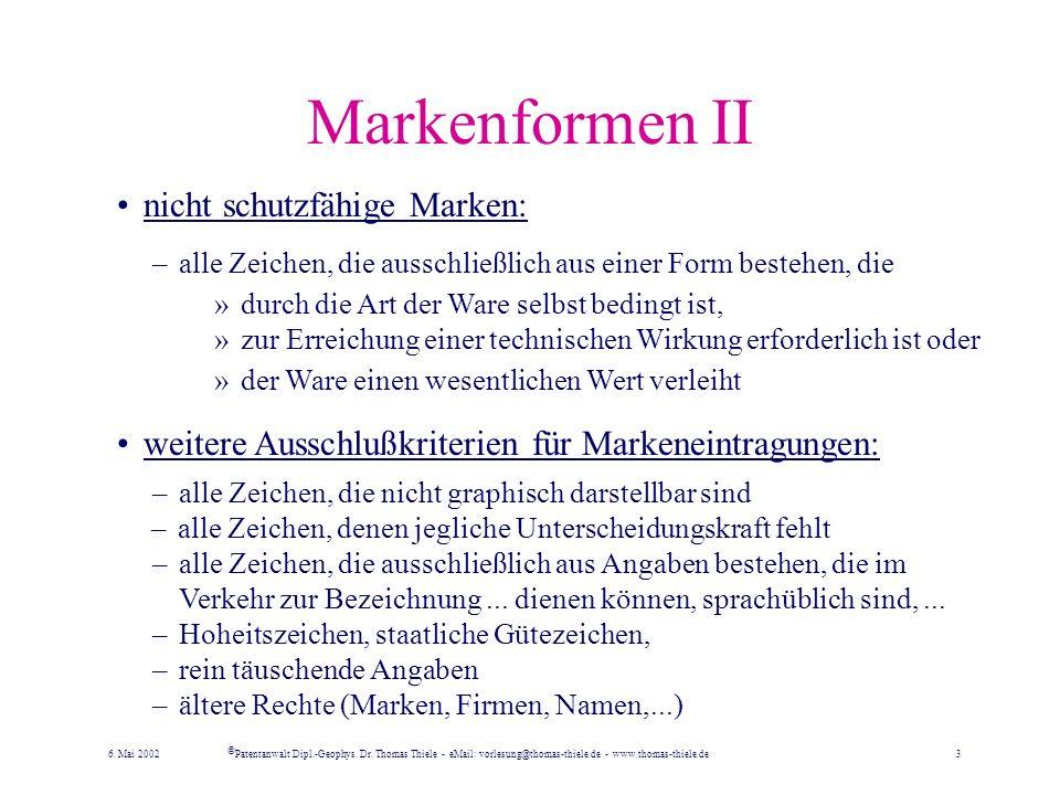 Markenformen I schutzfähige Marken: –alle Zeichen, die geeignet sind, Waren oder Dienstleistungen eines Unternehmens von denjenigen anderer Unternehme