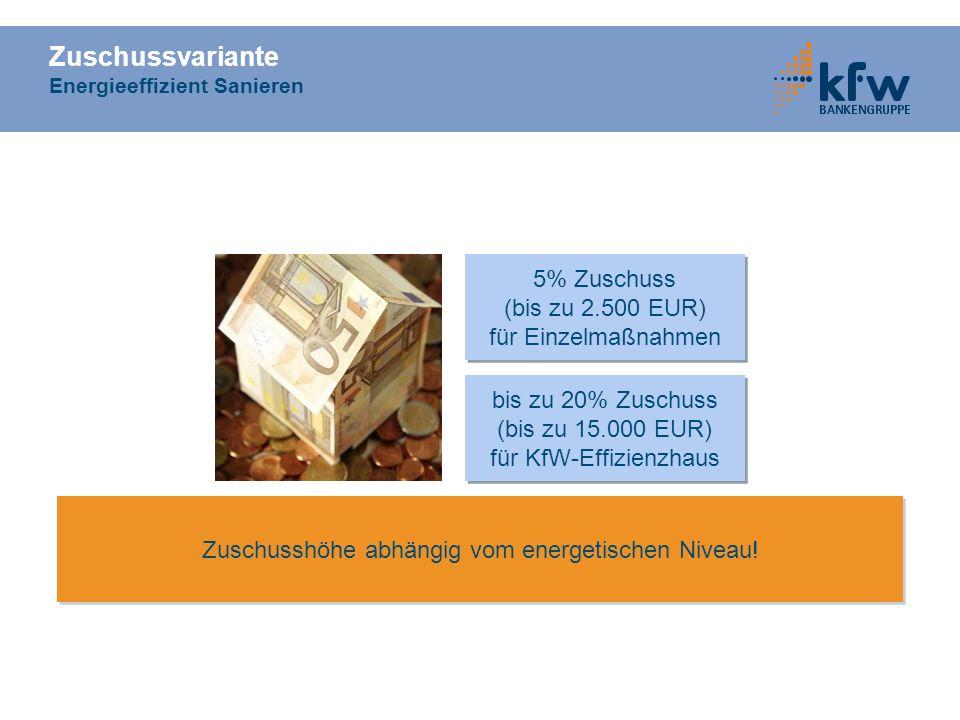 Zuschussvariante Energieeffizient Sanieren 5% Zuschuss (bis zu 2.500 EUR) für Einzelmaßnahmen 5% Zuschuss (bis zu 2.500 EUR) für Einzelmaßnahmen bis z
