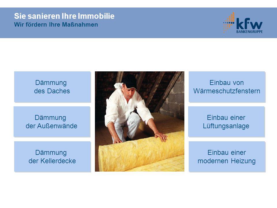 Sie sanieren Ihre Immobilie Wir fördern Ihre Maßnahmen Dämmung der Kellerdecke Dämmung der Kellerdecke Einbau einer modernen Heizung Einbau einer mode