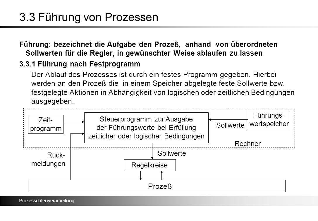 Prozessdatenverarbeitung 3.3 Führung von Prozessen Führung: bezeichnet die Aufgabe den Prozeß, anhand von überordneten Sollwerten für die Regler, in g
