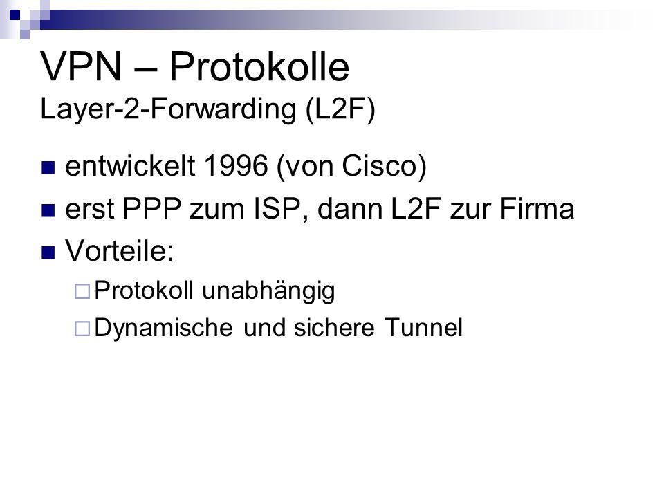 VPN – Protokolle Layer-2-Forwarding (L2F) entwickelt 1996 (von Cisco) erst PPP zum ISP, dann L2F zur Firma Vorteile: Protokoll unabhängig Dynamische u